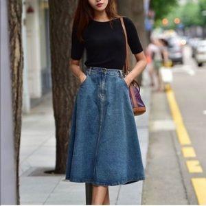 Vintage Denim Parisian Midi Skirt